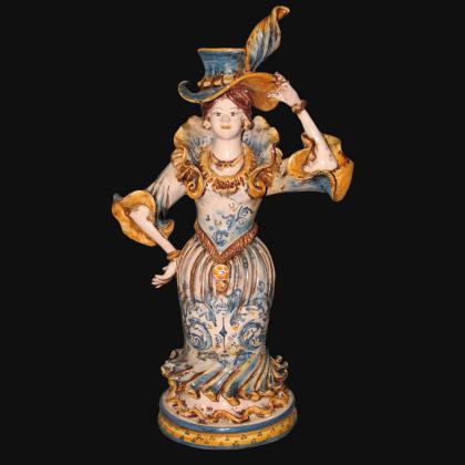 Centrotavola Serie d'arte Monocromia di blu in ceramica artigianale di Caltagirone