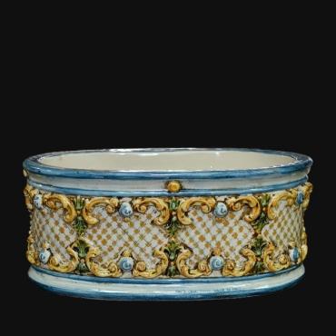 Acquasantiera Verde e Arancio in Ceramica artistica di Caltagirone